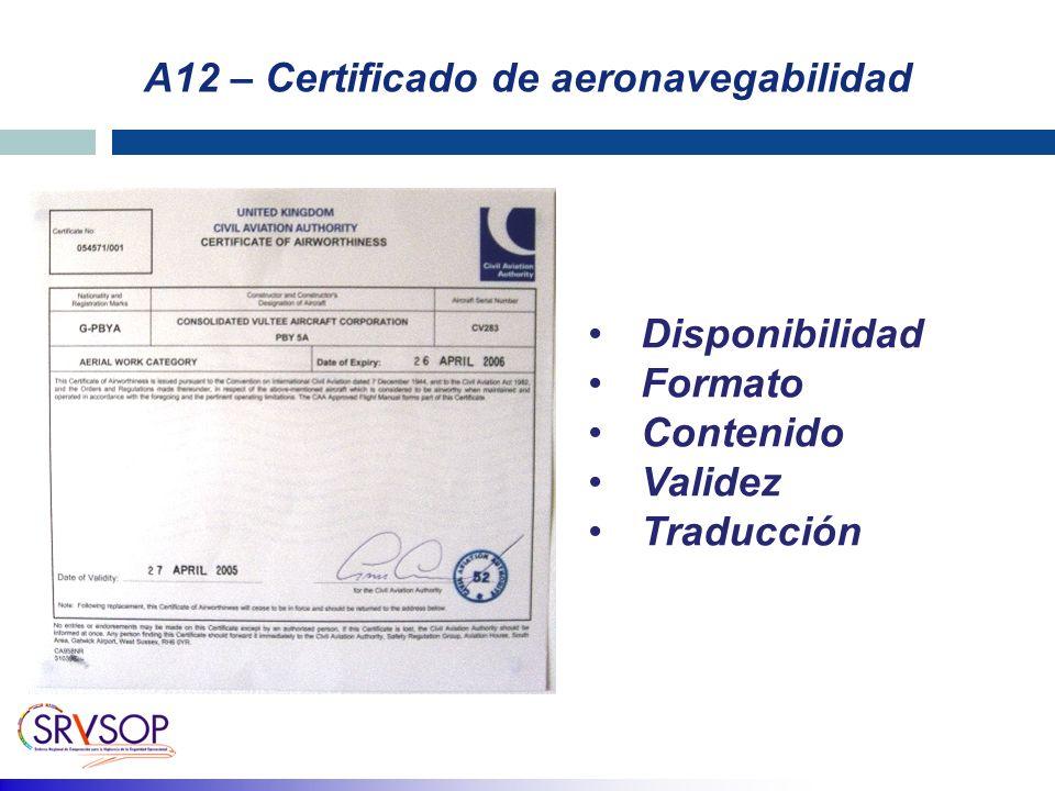 A12 – Certificado de aeronavegabilidad Disponibilidad Formato Contenido Validez Traducción