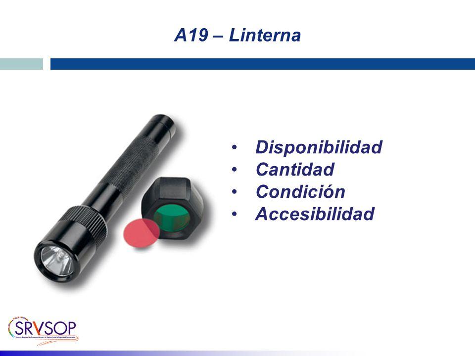A19 – Linterna Disponibilidad Cantidad Condición Accesibilidad