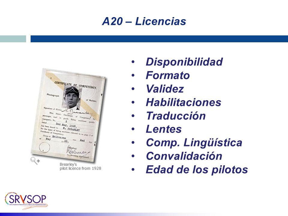 A20 – Licencias Disponibilidad Formato Validez Habilitaciones Traducción Lentes Comp. Lingüística Convalidación Edad de los pilotos