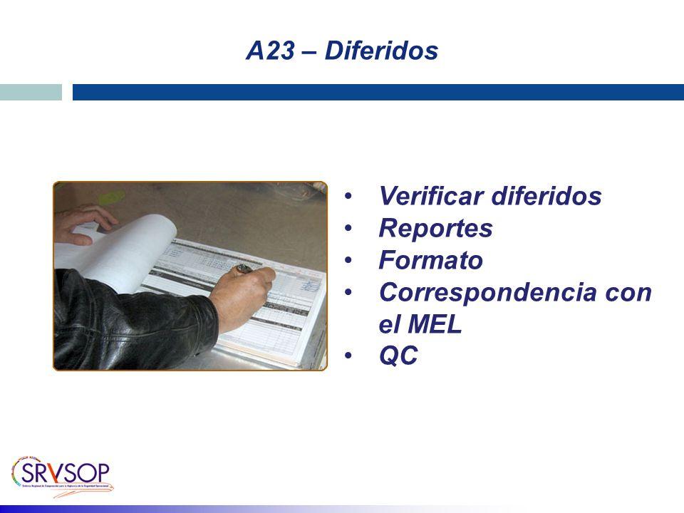 A23 – Diferidos Verificar diferidos Reportes Formato Correspondencia con el MEL QC