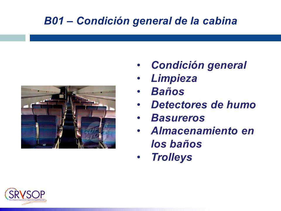 B01 – Condición general de la cabina Condición general Limpieza Baños Detectores de humo Basureros Almacenamiento en los baños Trolleys