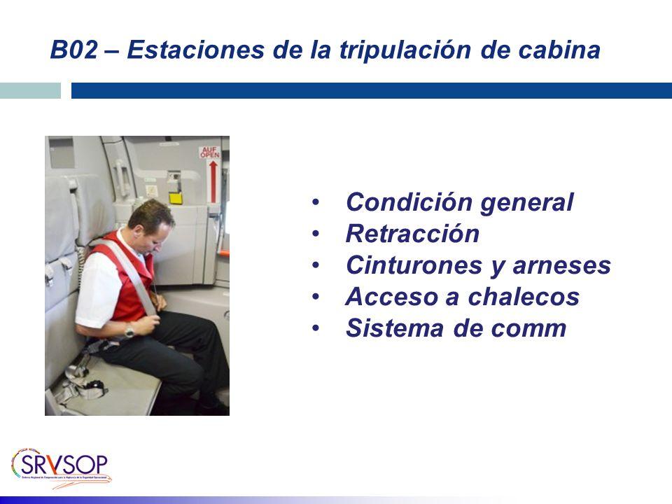 B02 – Estaciones de la tripulación de cabina Condición general Retracción Cinturones y arneses Acceso a chalecos Sistema de comm