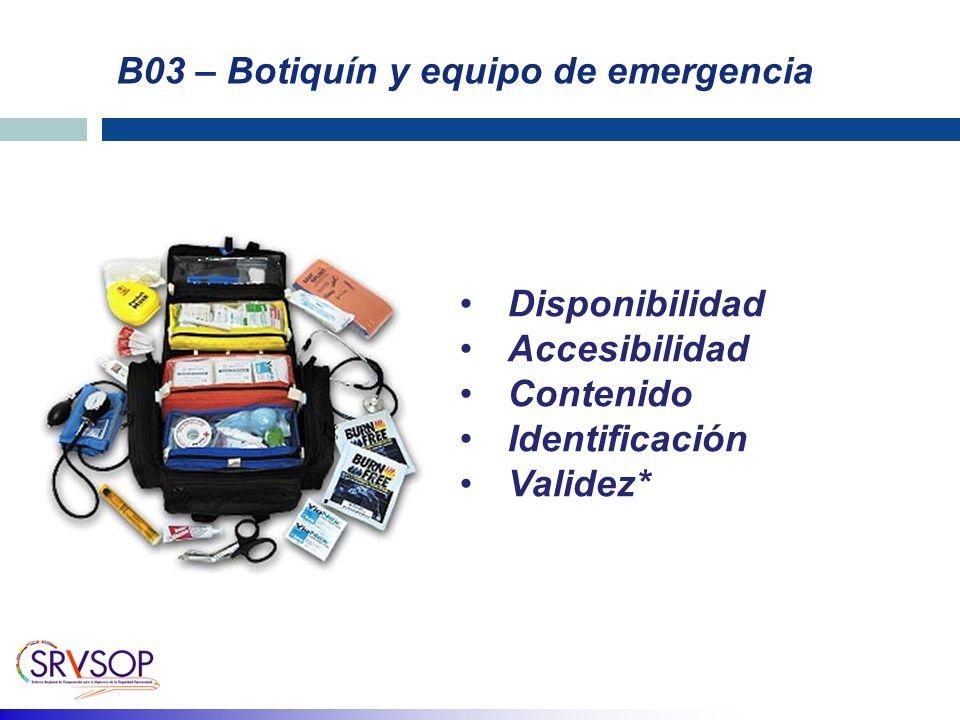 B03 – Botiquín y equipo de emergencia Disponibilidad Accesibilidad Contenido Identificación Validez*