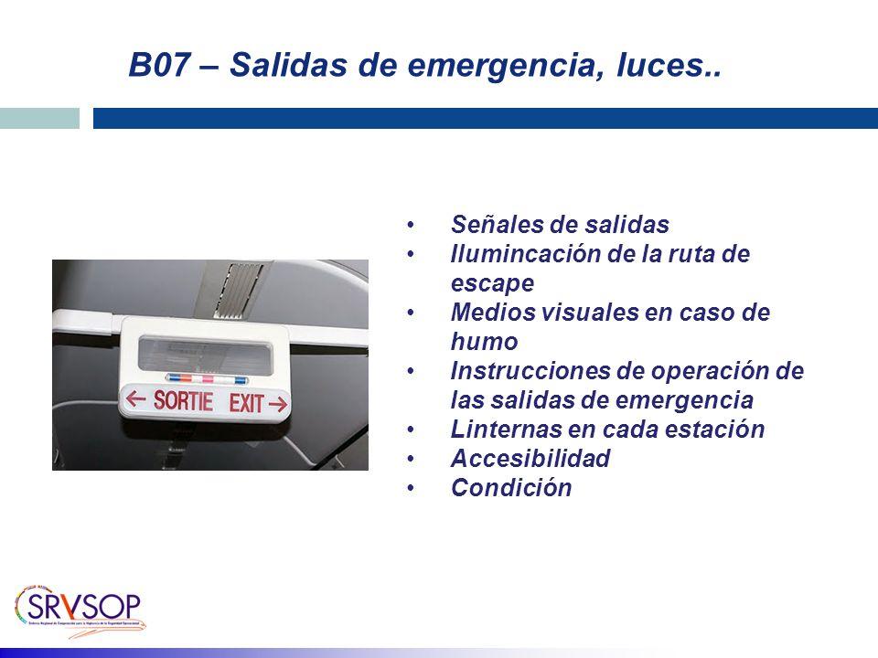 B07 – Salidas de emergencia, luces.. Señales de salidas Ilumincación de la ruta de escape Medios visuales en caso de humo Instrucciones de operación d