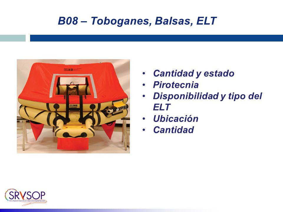 B08 – Toboganes, Balsas, ELT Cantidad y estado Pirotecnia Disponibilidad y tipo del ELT Ubicación Cantidad