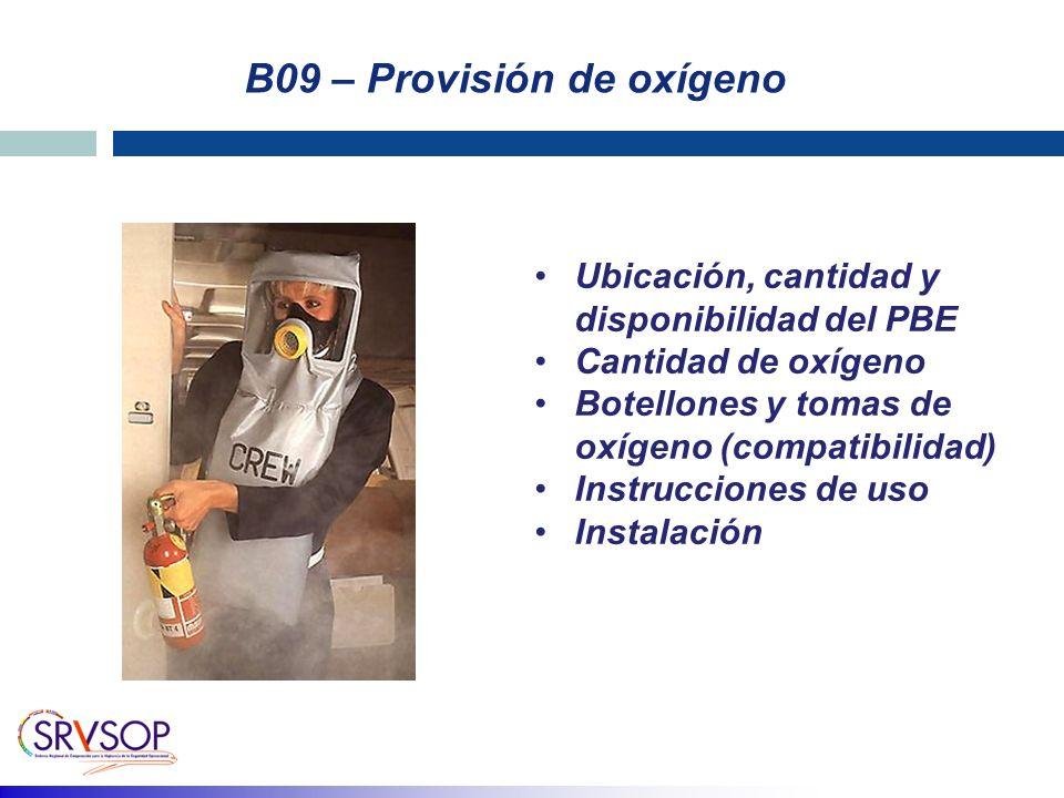 B09 – Provisión de oxígeno Ubicación, cantidad y disponibilidad del PBE Cantidad de oxígeno Botellones y tomas de oxígeno (compatibilidad) Instruccion