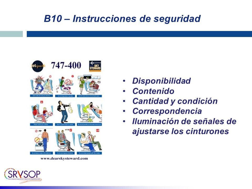 B10 – Instrucciones de seguridad Disponibilidad Contenido Cantidad y condición Correspondencia Iluminación de señales de ajustarse los cinturones