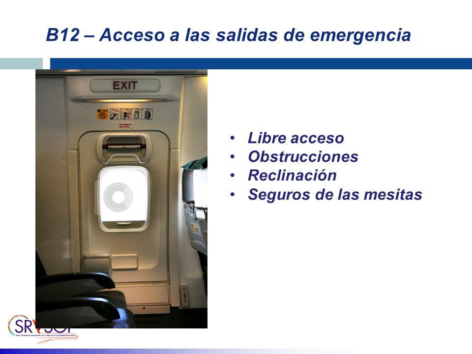 B12 – Acceso a las salidas de emergencia Libre acceso Obstrucciones Reclinación Seguros de las mesitas