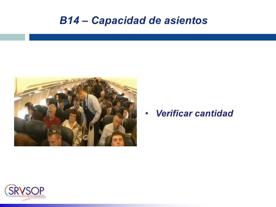 B14 – Capacidad de asientos Verificar cantidad