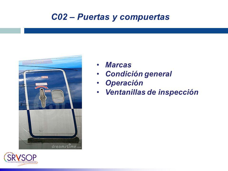 C02 – Puertas y compuertas Marcas Condición general Operación Ventanillas de inspección