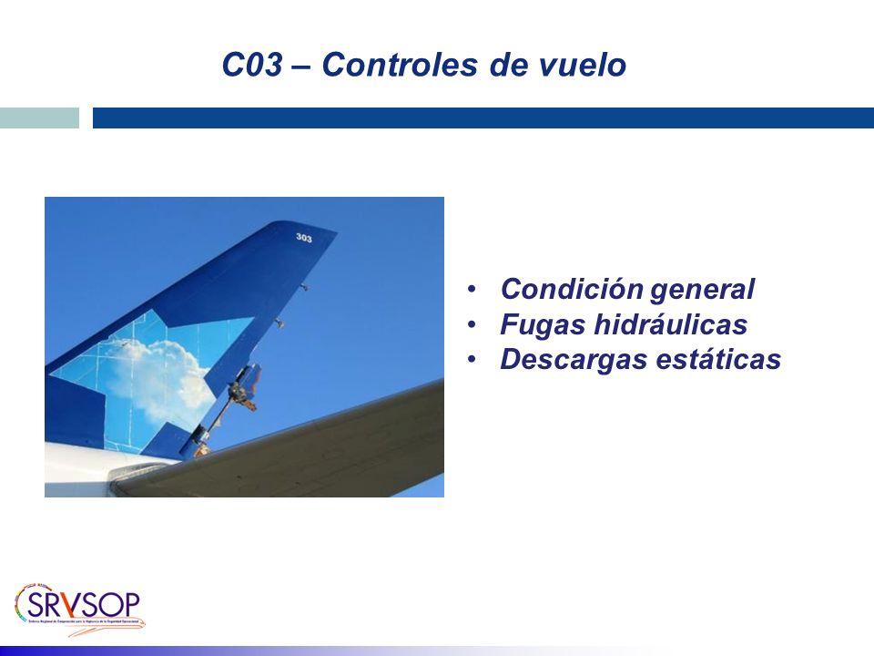 C03 – Controles de vuelo Condición general Fugas hidráulicas Descargas estáticas