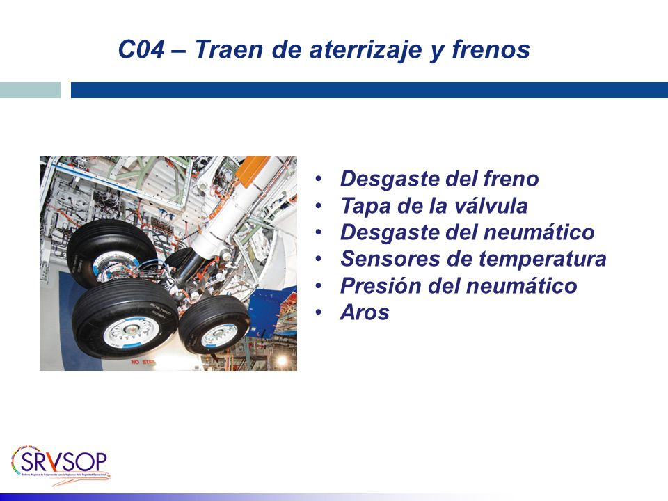C04 – Traen de aterrizaje y frenos Desgaste del freno Tapa de la válvula Desgaste del neumático Sensores de temperatura Presión del neumático Aros