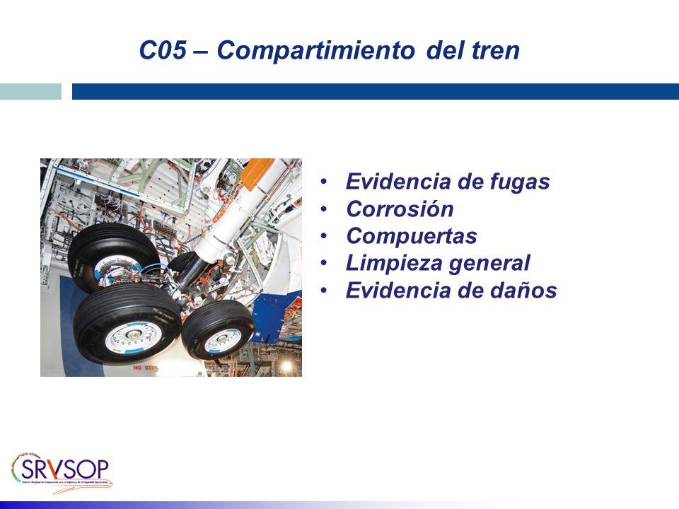 C05 – Compartimiento del tren Evidencia de fugas Corrosión Compuertas Limpieza general Evidencia de daños