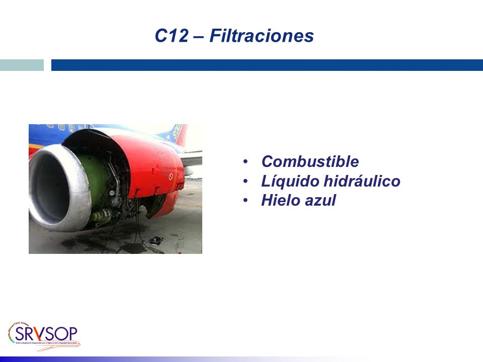 C12 – Filtraciones Combustible Líquido hidráulico Hielo azul