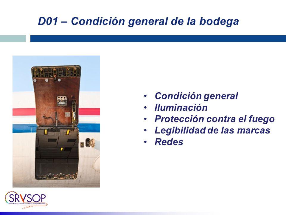 D01 – Condición general de la bodega Condición general Iluminación Protección contra el fuego Legibilidad de las marcas Redes