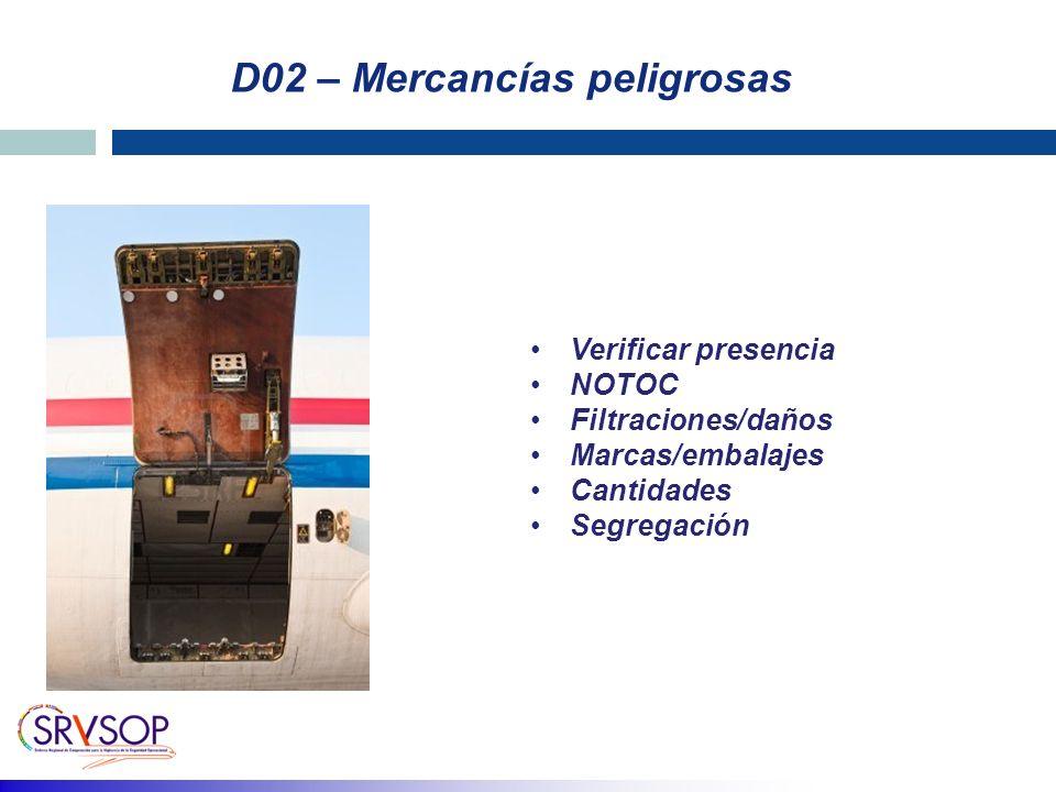 D02 – Mercancías peligrosas Verificar presencia NOTOC Filtraciones/daños Marcas/embalajes Cantidades Segregación