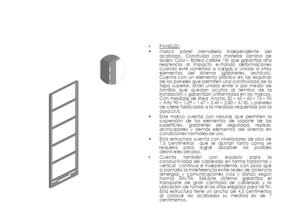 PANELES: Marco panel cremallera independiente del acabado. Construida con material (lamina de acero Cold – Rolled calibre 18) que garantiza alta resis