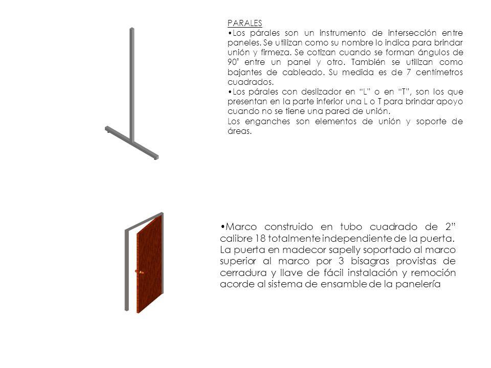 PARALES Los párales son un instrumento de intersección entre paneles. Se utilizan como su nombre lo indica para brindar unión y firmeza. Se cotizan cu