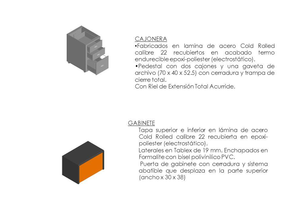 CAJONERA Fabricados en lamina de acero Cold Rolled calibre 22 recubiertos en acabado termo endurecible epoxi-poliester (electrostático). Pedestal con