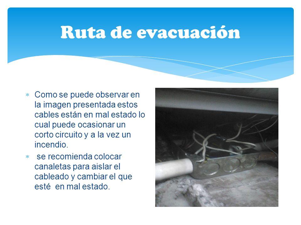 Ruta de evacuación Como se puede observar en la imagen presentada estos cables están en mal estado lo cual puede ocasionar un corto circuito y a la vez un incendio.
