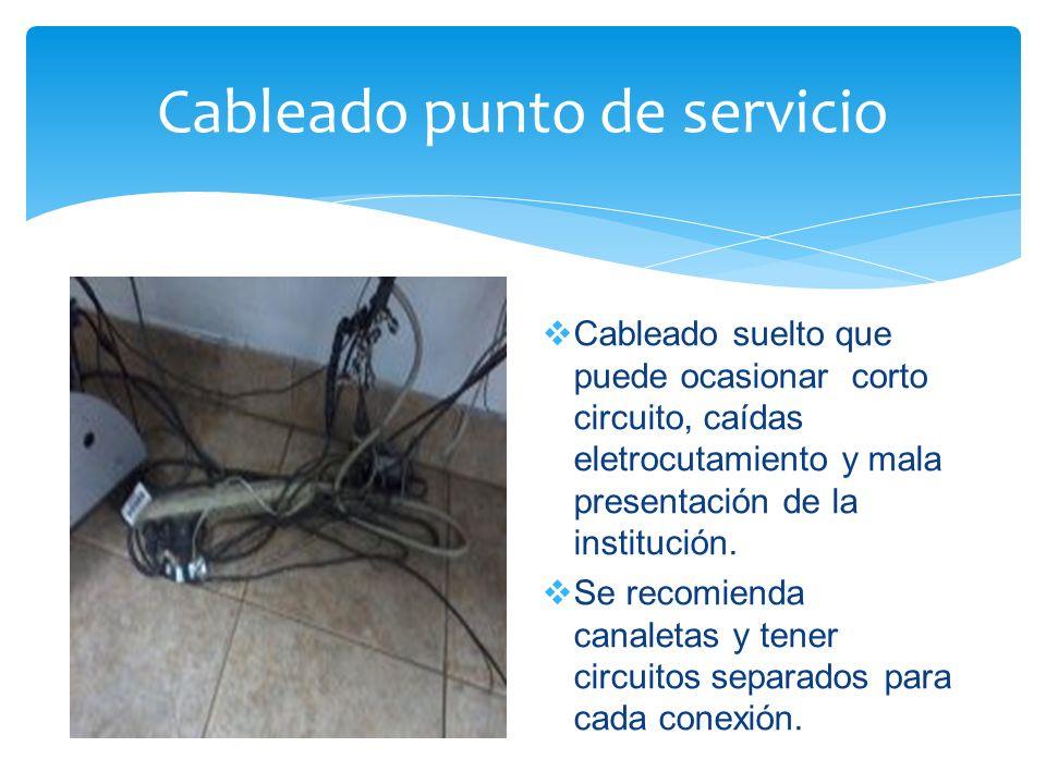 Cableado punto de servicio Cableado suelto que puede ocasionar corto circuito, caídas eletrocutamiento y mala presentación de la institución.