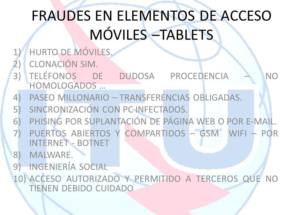 FRAUDES EN ELEMENTOS DE ACCESO MÓVILES –TABLETS 1)HURTO DE MÓVILES. 2)CLONACIÓN SIM. 3)TELÉFONOS DE DUDOSA PROCEDENCIA – NO HOMOLOGADOS … 4)PASEO MILL