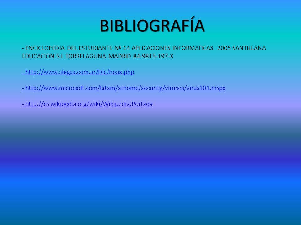 BIBLIOGRAFÍA - ENCICLOPEDIA DEL ESTUDIANTE Nº 14 APLICACIONES INFORMATICAS 2005 SANTILLANA EDUCACION S.L TORRELAGUNA MADRID 84-9815-197-X - http://www