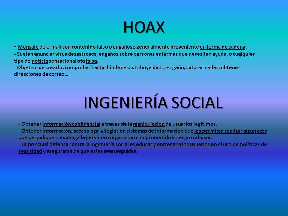 HOAX - Mensaje de e-mail con contenido falso o engañoso generalmente proveniente en forma de cadena. - Suelen anunciar virus desastrosos, engaños sobr