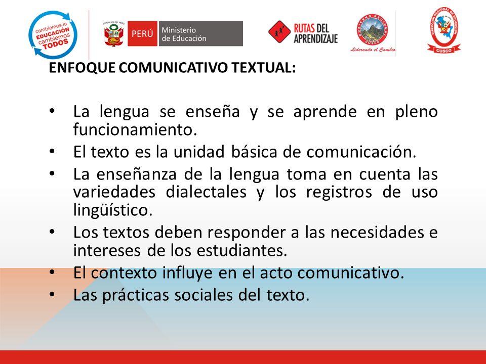 ENFOQUE COMUNICATIVO TEXTUAL: La lengua se enseña y se aprende en pleno funcionamiento. El texto es la unidad básica de comunicación. La enseñanza de
