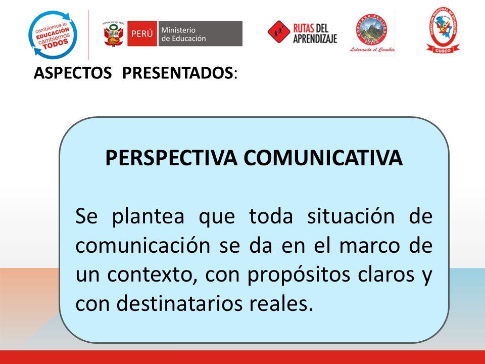 ASPECTOS PRESENTADOS: PERSPECTIVA COMUNICATIVA Se plantea que toda situación de comunicación se da en el marco de un contexto, con propósitos claros y