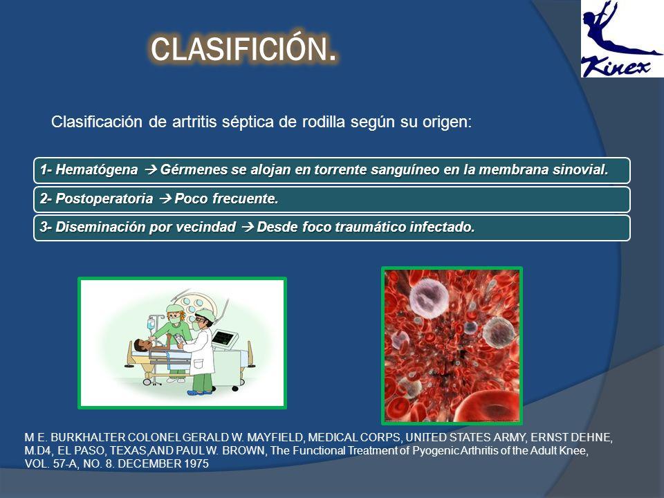 Clasificación de artritis séptica de rodilla según su origen: 1- Hematógena Gérmenes se alojan en torrente sanguíneo en la membrana sinovial. 2- Posto