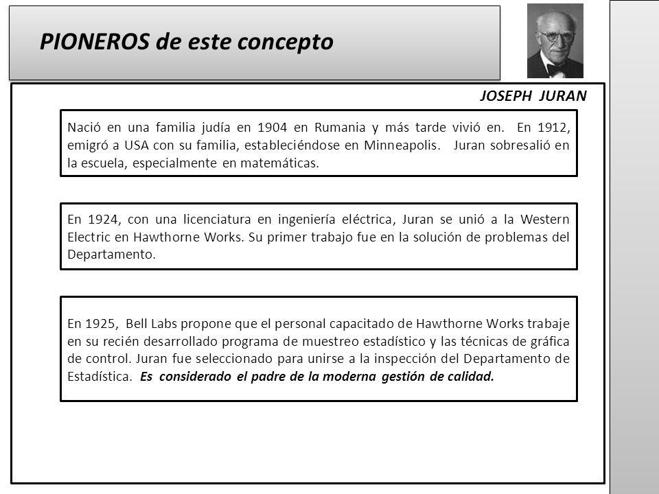 JOSEPH JURAN PIONEROS de este concepto Nació en una familia judía en 1904 en Rumania y más tarde vivió en.