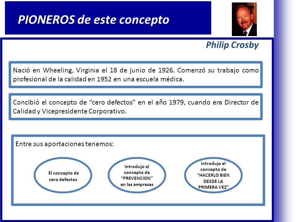 Philip Crosby PIONEROS de este concepto Nació en Wheeling, Virginia el 18 de junio de 1926.