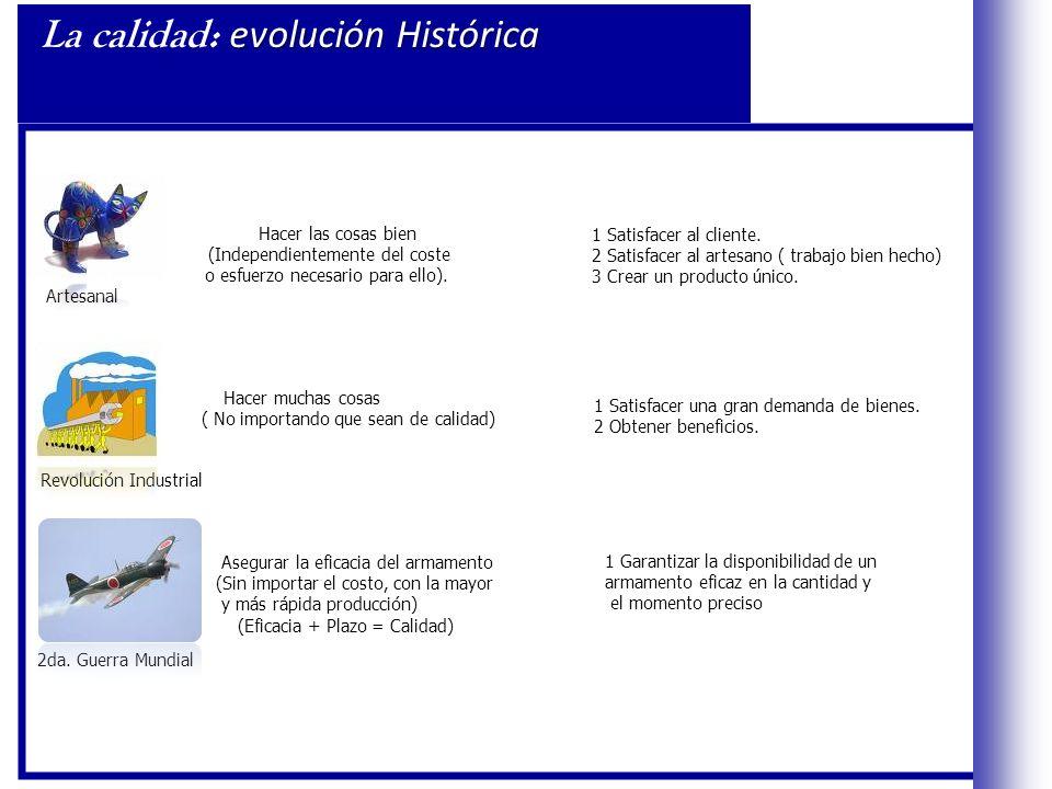 evolución Histórica La calidad: evolución Histórica Artesanal Hacer las cosas bien (Independientemente del coste o esfuerzo necesario para ello).