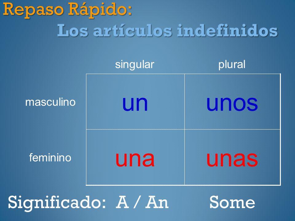 Repaso Rápido: Los artículos indefinidos unasuna feminino unosun masculino pluralsingular Significado:A / AnSome