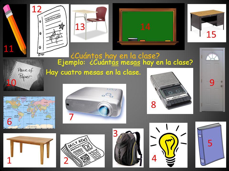 Ejemplo: ¿Cuántas mesas hay en la clase. Hay cuatro mesas en la clase.