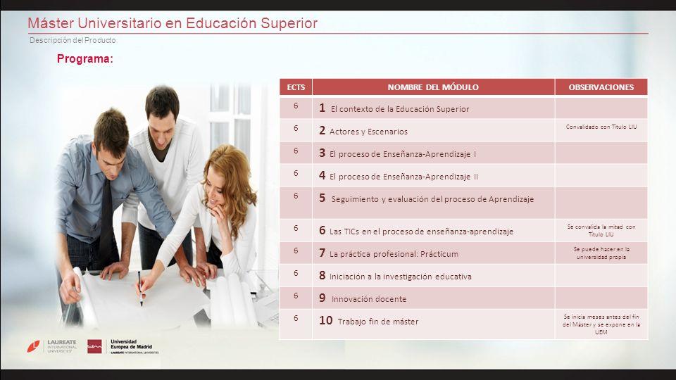 Máster Universitario en Educación Superior Descripción del Producto Programa: ECTSNOMBRE DEL MÓDULOOBSERVACIONES 6 1 El contexto de la Educación Super