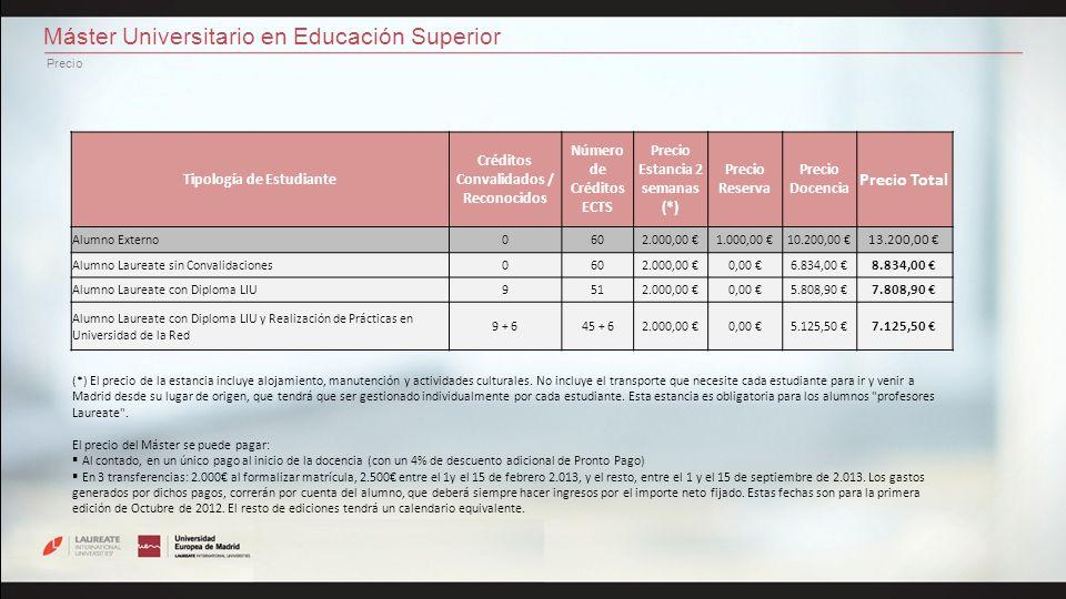 Máster Universitario en Educación Superior Precio Tipología de Estudiante Créditos Convalidados / Reconocidos Número de Créditos ECTS Precio Estancia