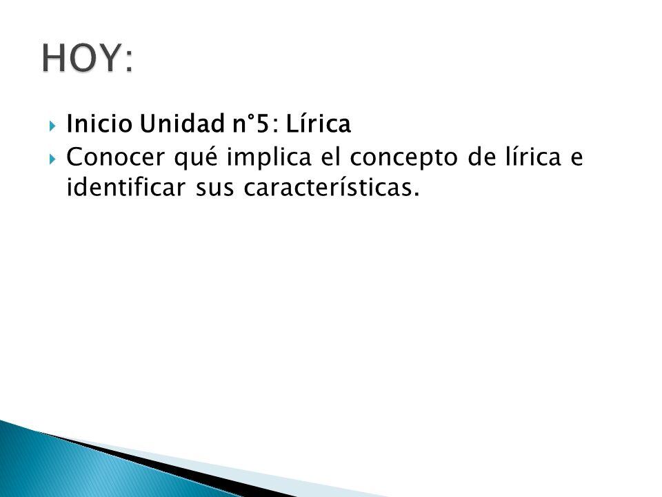Inicio Unidad n°5: Lírica Conocer qué implica el concepto de lírica e identificar sus características.