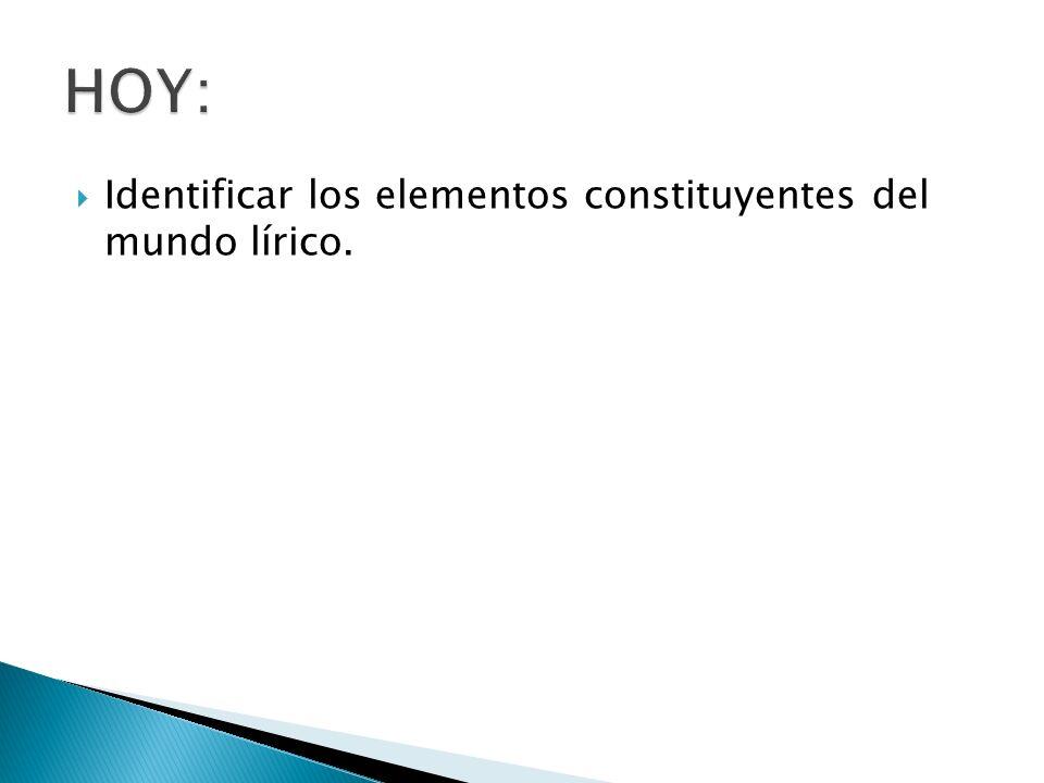 Identificar los elementos constituyentes del mundo lírico.