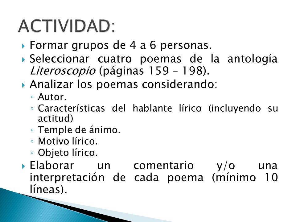 Formar grupos de 4 a 6 personas.