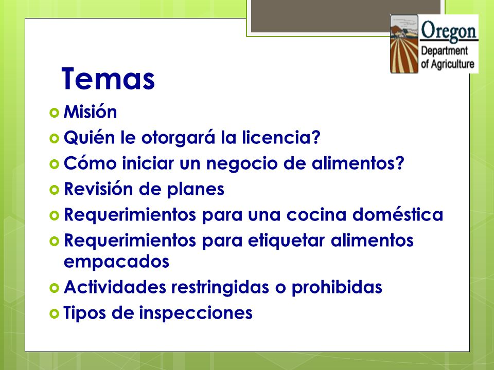 Actividades Prohibidas o Restringidas: Carnes.