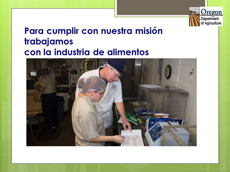 Cubrimos todos los aspectos de producción y distribución de alimentos excepto servicio de alimentos para consumo inmediato y sacrificio de animales para distribución de carnes a mayoreo.