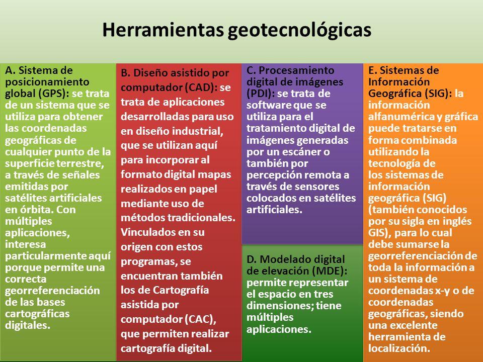 Herramientas geotecnológicas A. Sistema de posicionamiento global (GPS): se trata de un sistema que se utiliza para obtener las coordenadas geográfica