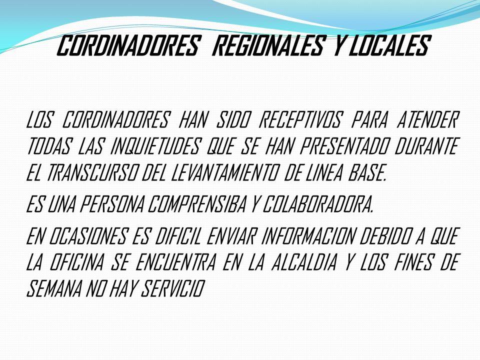 CORDINADORES REGIONALES Y LOCALES LOS CORDINADORES HAN SIDO RECEPTIVOS PARA ATENDER TODAS LAS INQUIETUDES QUE SE HAN PRESENTADO DURANTE EL TRANSCURSO