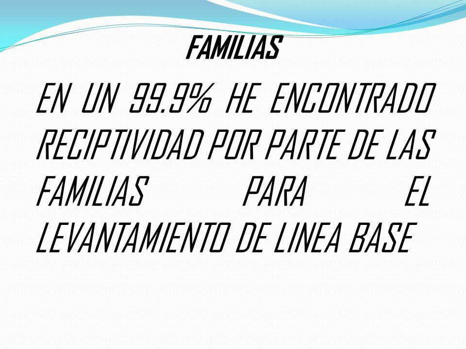 FAMILIAS EN UN 99.9% HE ENCONTRADO RECIPTIVIDAD POR PARTE DE LAS FAMILIAS PARA EL LEVANTAMIENTO DE LINEA BASE