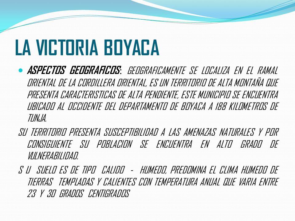 LA VICTORIA BOYACA ASPECTOS GEOGRAFICOS : GEOGRAFICAMENTE SE LOCALIZA EN EL RAMAL ORIENTAL DE LA CORDILLERA ORIENTAL, ES UN TERRITORIO DE ALTA MONTAÑA