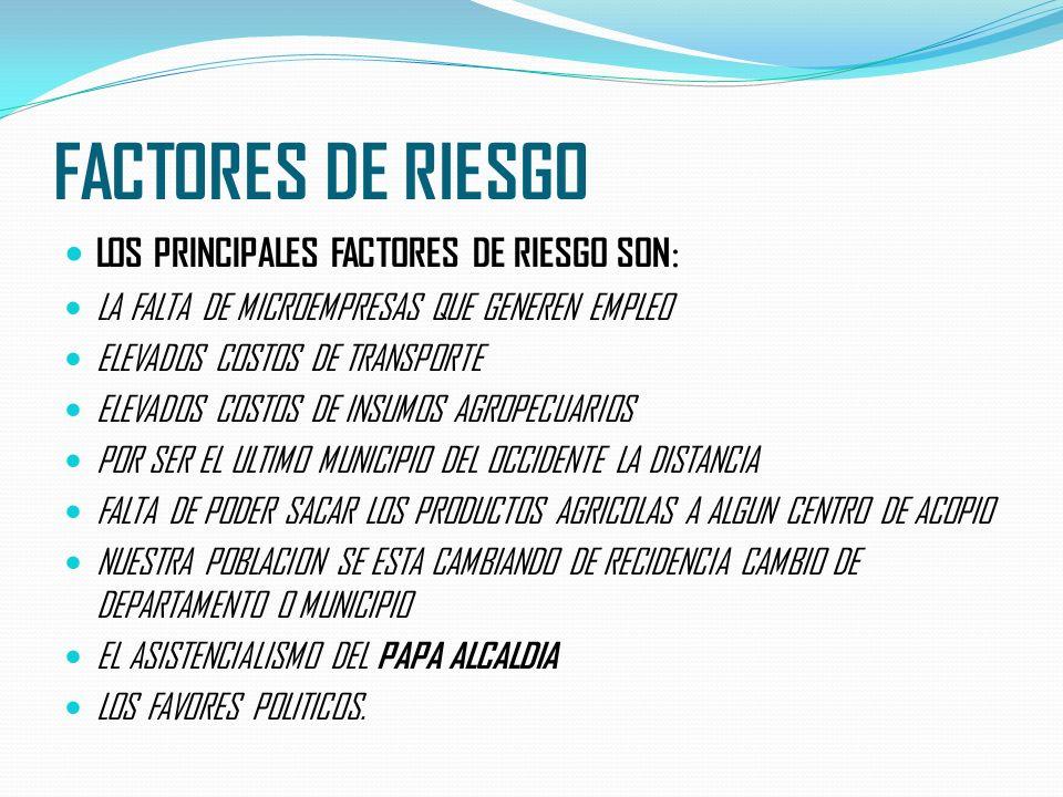 FACTORES DE RIESGO LOS PRINCIPALES FACTORES DE RIESGO SON : LA FALTA DE MICROEMPRESAS QUE GENEREN EMPLEO ELEVADOS COSTOS DE TRANSPORTE ELEVADOS COSTOS