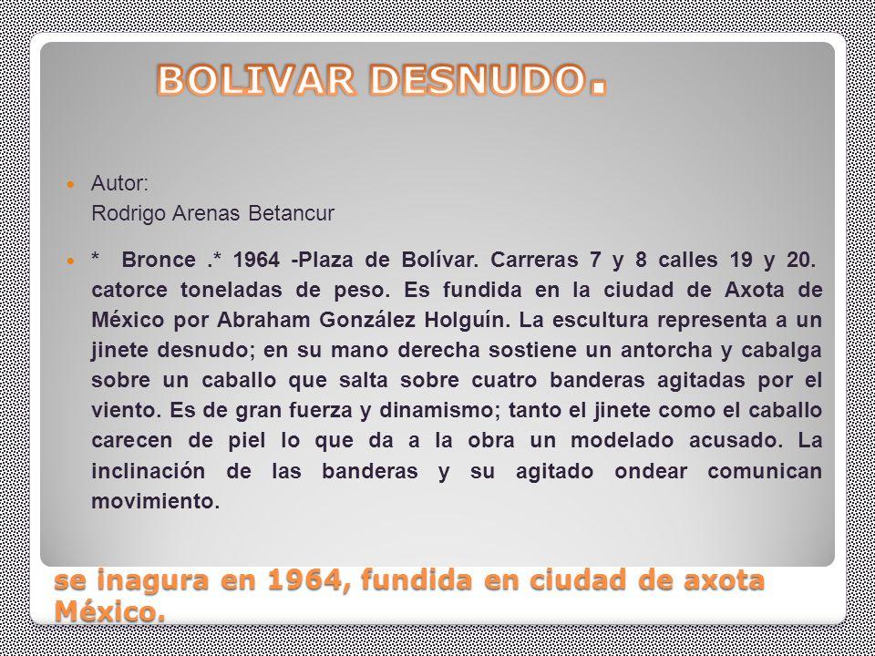 BOLIVAR DESNUDO ( PEREIRA) Obra de el maestro Arenas Betancourt quien en sus esculturas cita al gran Albert Eisten desafiando la gravedad