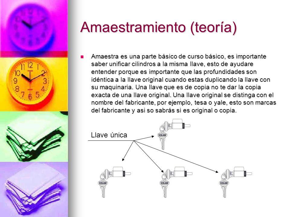 Amaestramiento (teoría) Amaestra es una parte básico de curso básico, es importante saber unificar cilindros a la misma llave, esto de ayudare entende
